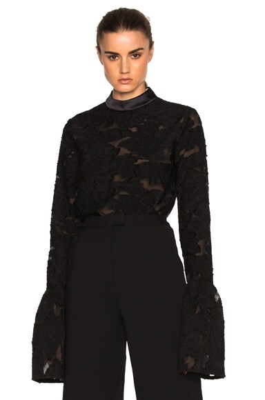 self-portrait Fil Coup Blossom Top in Black
