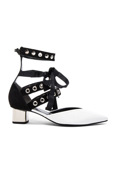 self-portrait x Robert Clergerie Patent Leather Susa Kitten Heels in Black & White