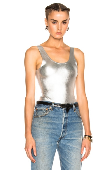 SPRWMN for FWRD Leather Bodysuit in Silver