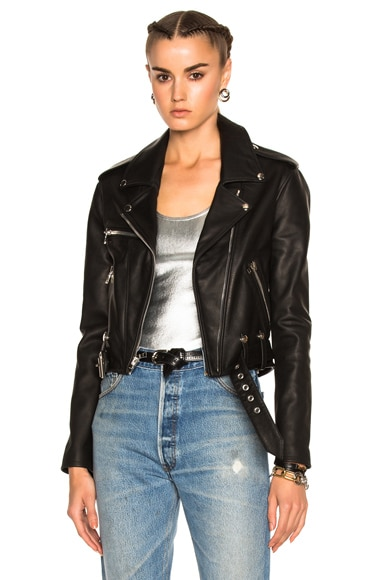 SPRWMN Leather Moto Jacket in Black