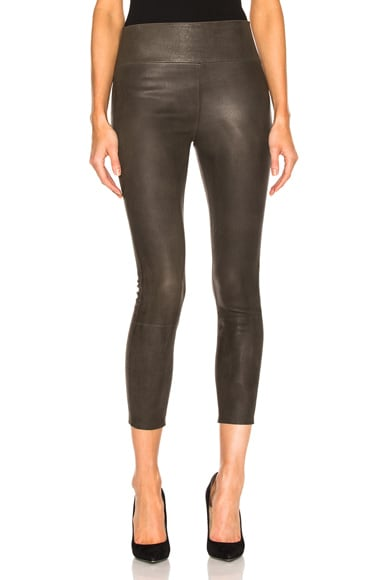 SPRWMN High Waist 3/4 Leather Legging in Army