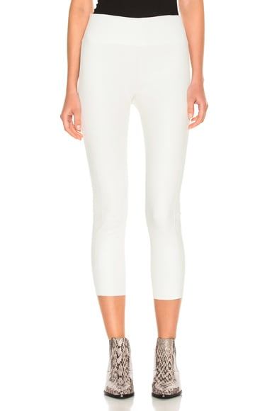 SPRWMN High Waist 3/4 Leather Legging in White