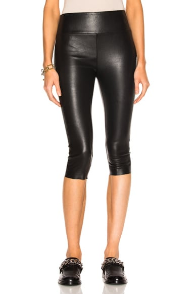 SPRWMN High Waist Crop Leather Legging in Black