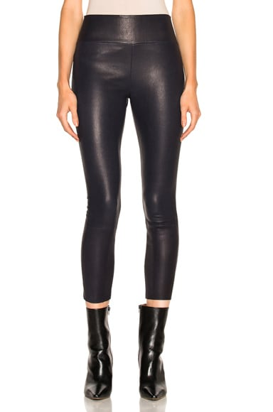 SPRWMN High Waist Capri Leather Legging in Navy