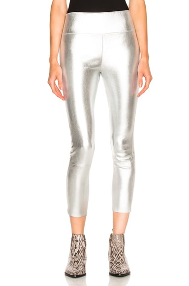 SPRWMN High Waist Capri Leather Legging in Silver