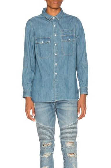 Stampd Washed Denim Work Shirt in Indigo