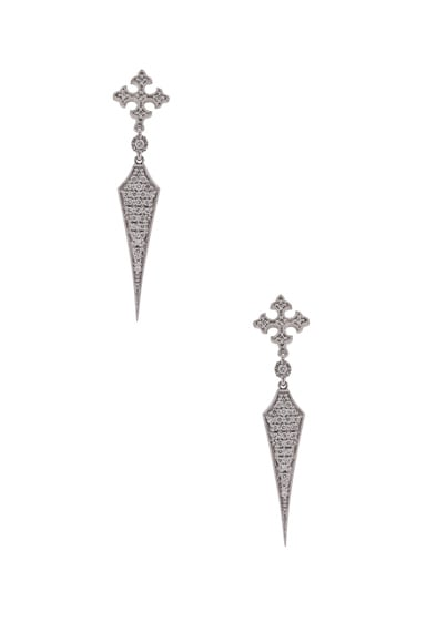 Stone Paris Passion Long Earrings in White Gold