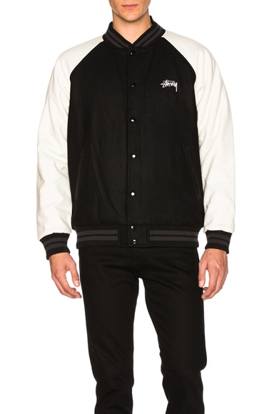 Stussy Two Tone Wool Varsity Jacket in Black
