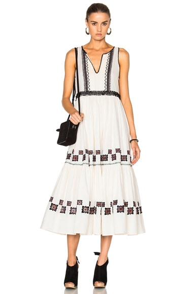 SUNO Cotton Leaf Maxi Dress in Off White