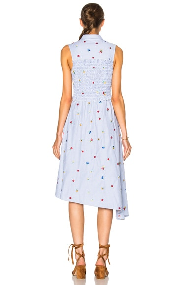 Smocked Embroidered Shirt Dress