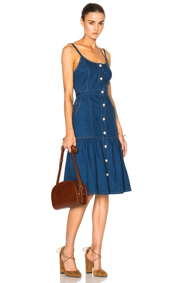 SUNO Spaghetti Strap Long Denim Dress in Indigo