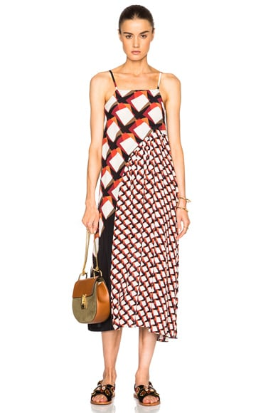 SUNO Pleated Underplay Maxi Dress in Diagonal Squares Black