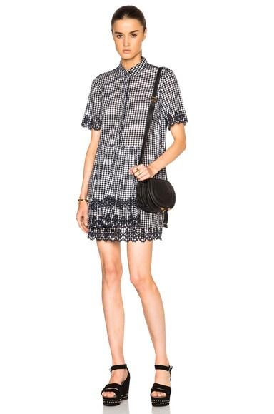 SUNO Scalloped Shirt Dress in Black & White Gingham