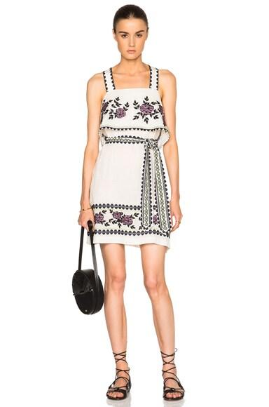 SUNO Cross Stitch Tie Dress in Ivory