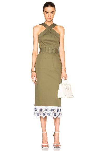 SUNO Cross Halter Pencil Dress in Olive