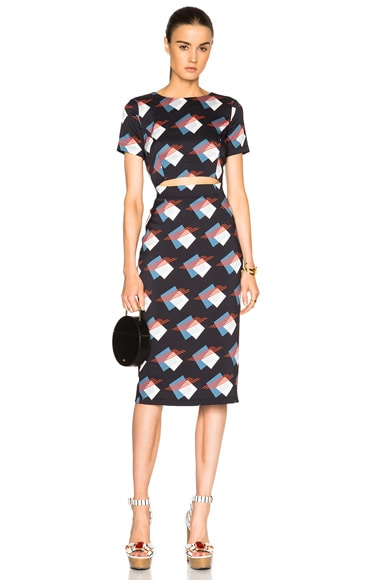 SUNO Cut Out Dress in Black Squares