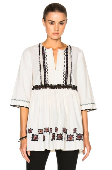 SUNO Cotton Leaf Tunic in Off White
