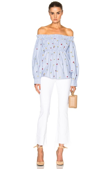 Smocked Off Shoulder Embroidered Top
