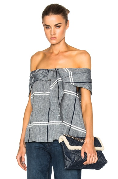SUNO Ring Tie Blouse in Chambray