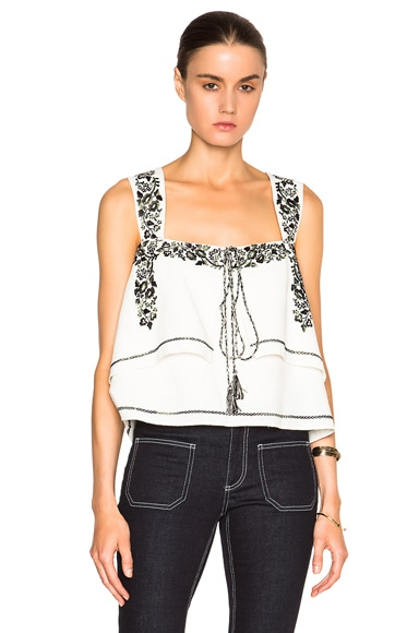 SUNO FWRD Exclusive Embroidered Tank in Ivory