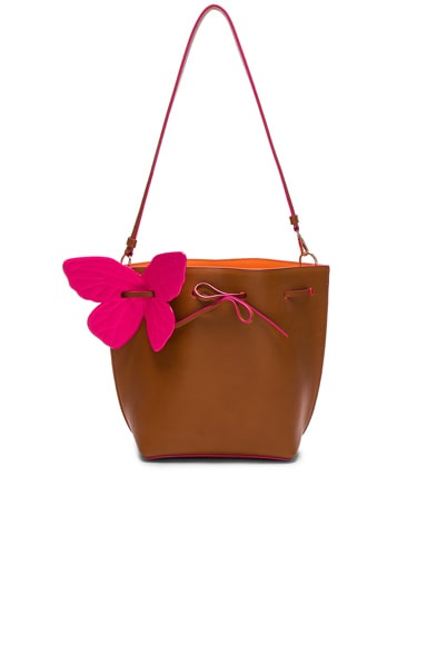 Sophia Webster Remi Butterfly Bucket Bag in Tan & Magenta