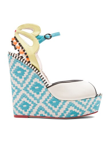 Sophia Webster Lula Aztec Leather Wedges in Blue & Winter White