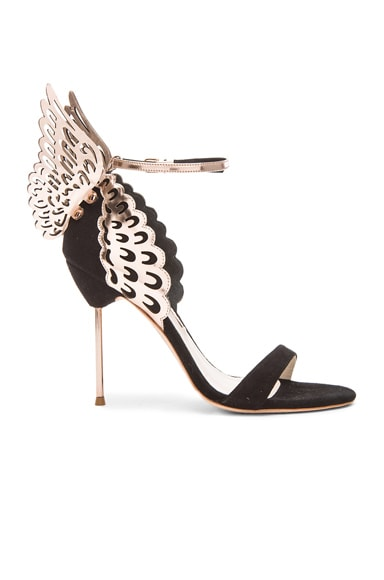 Sophia Webster Evangeline 100mm Suede Heels in Black Rose Gold