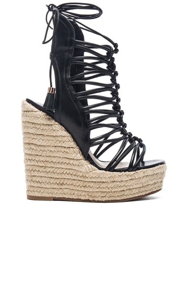 Sophia Webster Lacey Wedges in Black & Gold