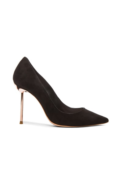 Sophia Webster Coco Flamingo Suede Heels in Black Suede
