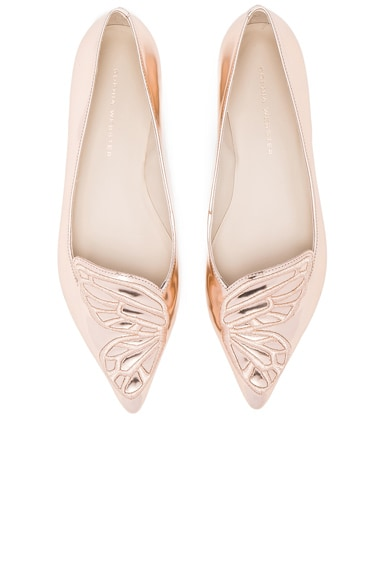 Sophia Webster Leather Bibi Butterfly Flats in Gold