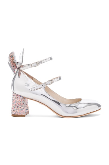 Sophia Webster Leather Lilia Mid Mary Jane Heels in Silver