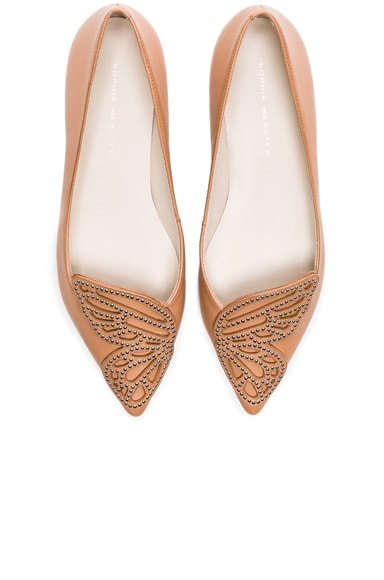 Sophia Webster Leather Bibi Stud Butterfly Flats in Tan