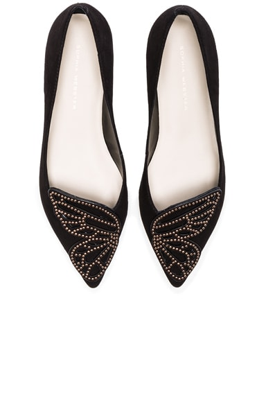 Sophia Webster Suede Bibi Stud Butterfly Flats in Black