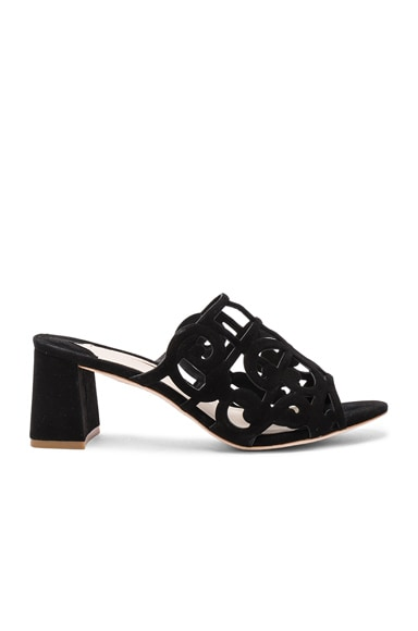 Sophia Webster Suede Birdie Mules in Black