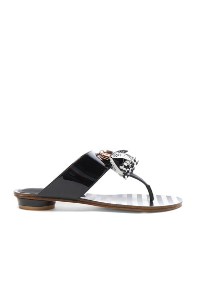 Sophia Webster Patent Leather Saffi Slide in Black & White
