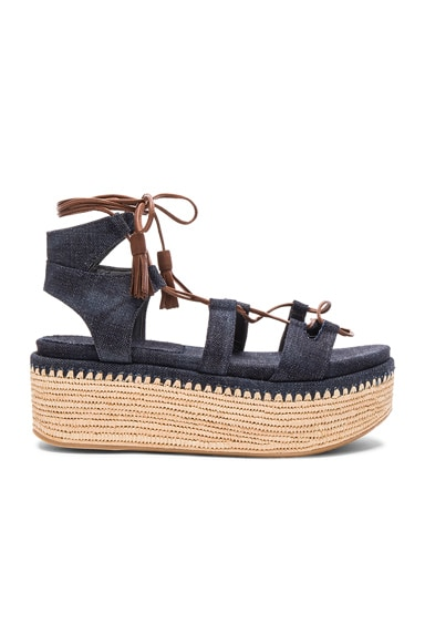 Stuart Weitzman Denim Romaneque Espadrille Sandals in Navy