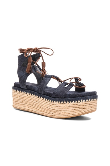 Denim Romaneque Espadrille Sandals