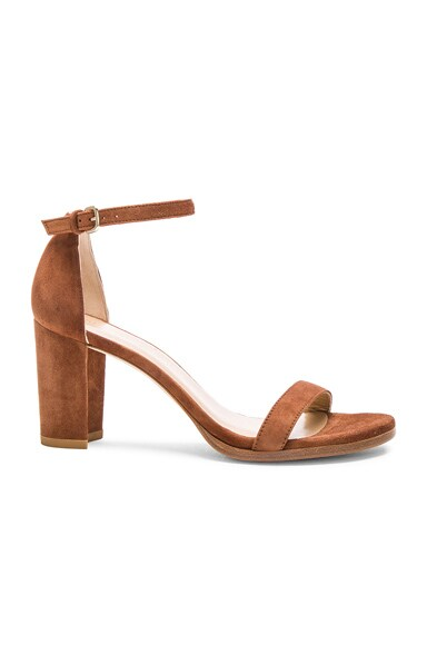 Stuart Weitzman Suede Nearly Nude Heel in Saddle