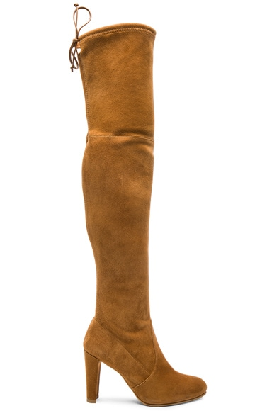 Stuart Weitzman Suede Highland Boots in Camel