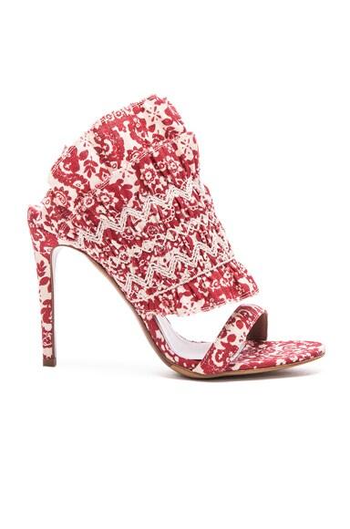 Tabitha Simmons Flouncy Linen Heels in Red & Ecru