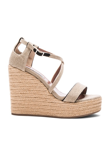 Tabitha Simmons Linen Jenny Wedges in Natural Linen