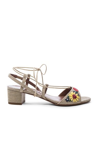 Tabitha Simmons Lori Meadow Sandals in Natural Linen & Multi Raffia Floral Embroidery