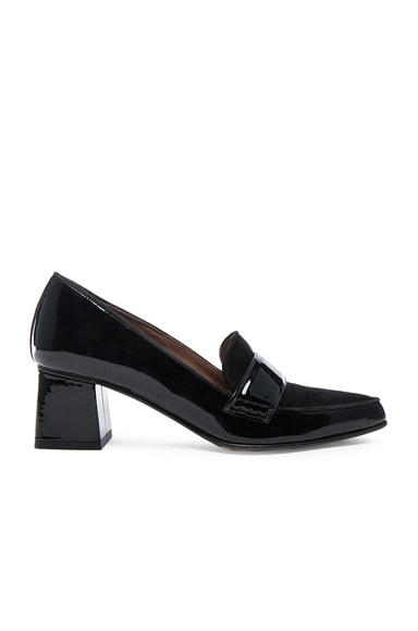 Tabitha Simmons Patent Leather Margot Heels in Black Patent & Suede