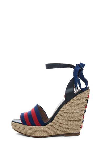 Alice Leather & Grosgrain Wrap Around Wedges