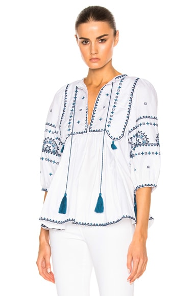 Talitha Indian Peasant Top in Blue