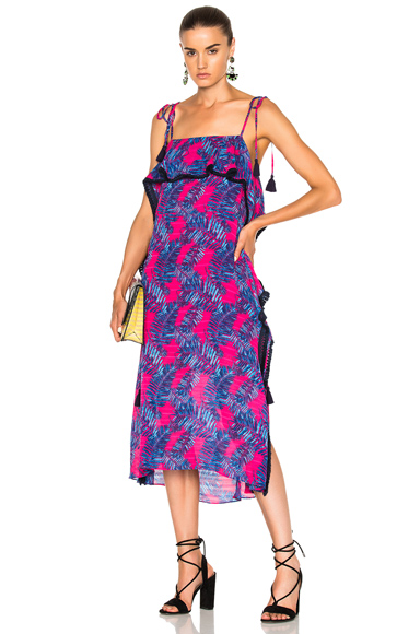 Tanya Taylor Palms Josefina Dress in Fuchsia Multi