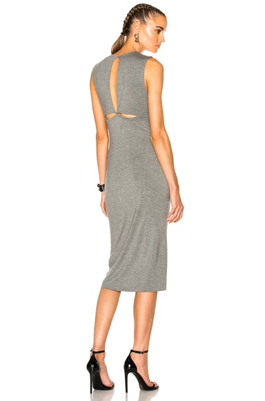 T by Alexander Wang Modal Spandex Back Slit Dress in Heather Grey