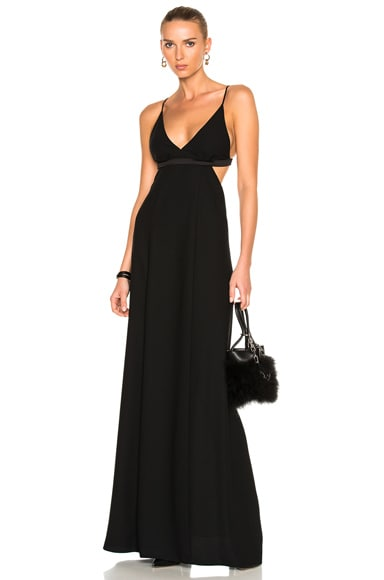 T by Alexander Wang Poly Crepe Triangle Bralette Maxi Dress in Black
