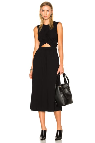 T by Alexander Wang Cotton Jersey Twist Front Muscle Dress in Black