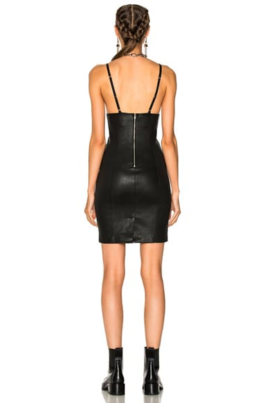 Fitted Leather Sleeveless Dress